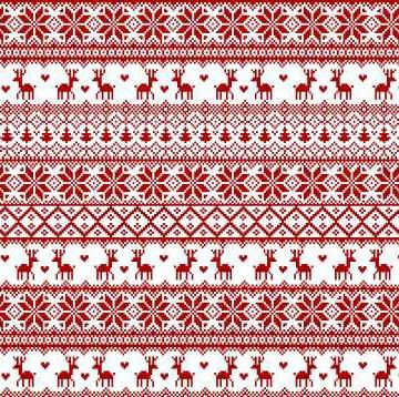 Winter Essentials II - Fair Isle in Red on White