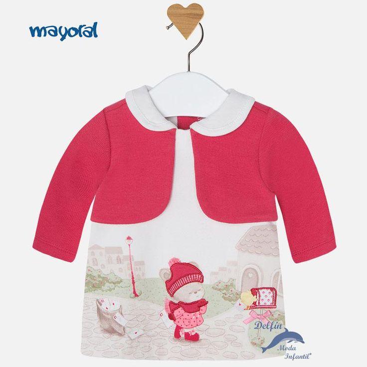 Vestido de bebe MAYORAL NEWBORN de felpa bordado con simulación de chaqueta