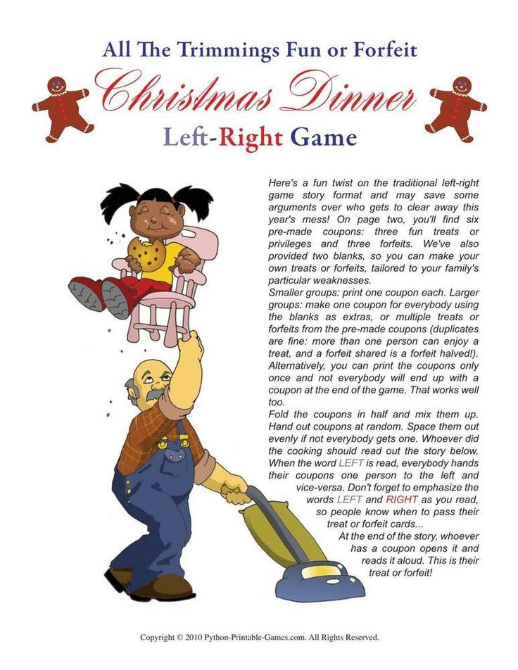 Christmas: Christmas Dinner Left Right Game, $6.95 | Gift ...