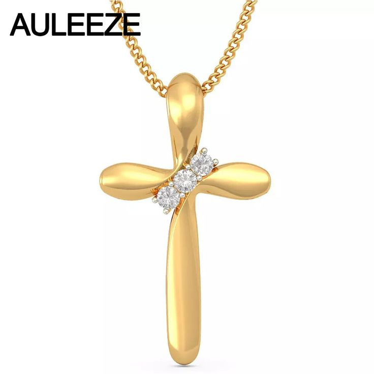 Classic Jesus Cross Design Silde Pendant Necklace 14K Solid Yellow Gold Real Natural Diamond Pendants For Women, 18' Gold Chain     Tag a friend who would love this!     FREE Shipping Worldwide     Get it here ---> http://onlineshopping.fashiongarments.biz/products/classic-jesus-cross-design-silde-pendant-necklace-14k-solid-yellow-gold-real-natural-diamond-pendants-for-women-18-gold-chain/