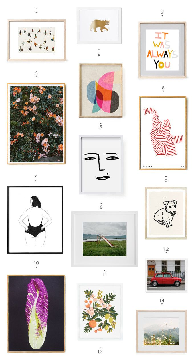 24 pieces of budget-friendly art, including landscapes, illustrations and a funny little dog.