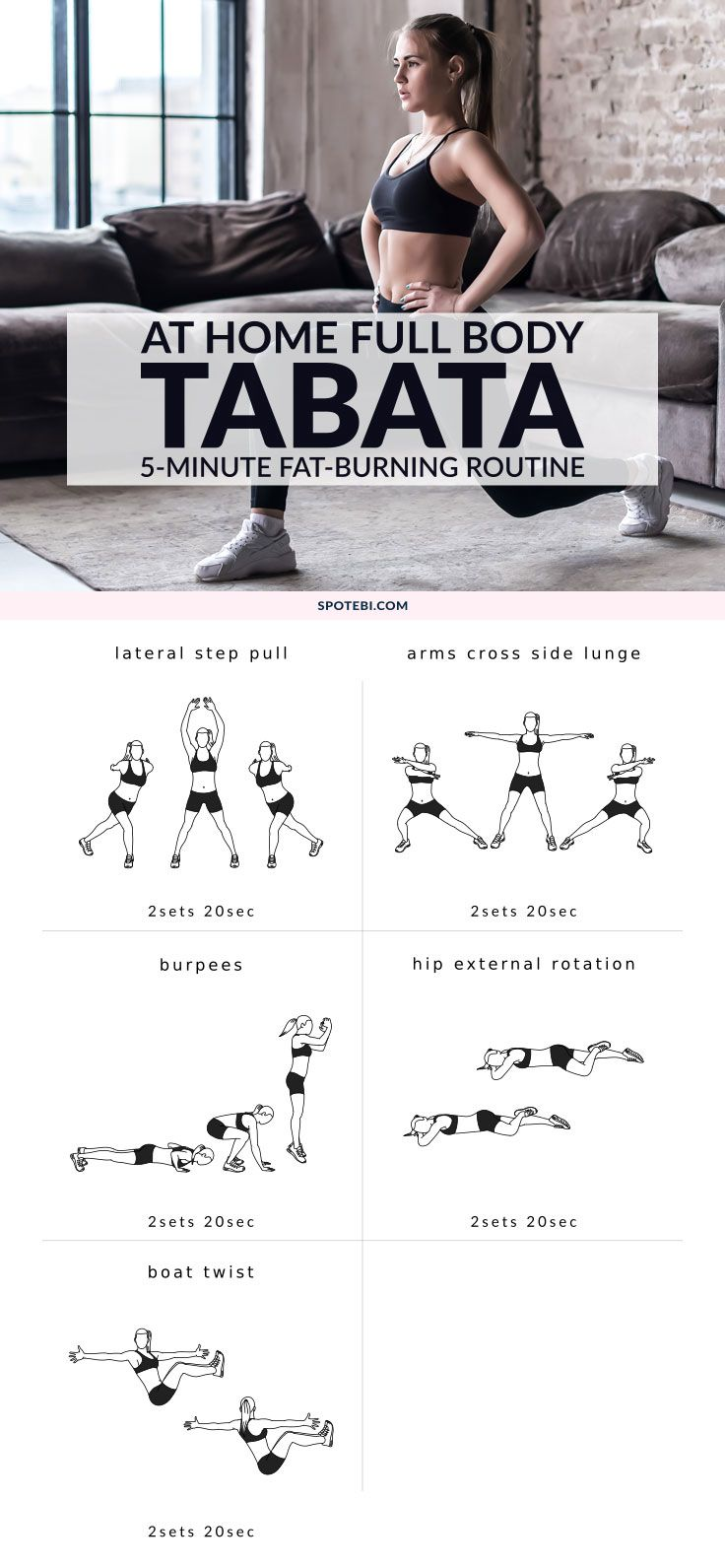 A Tabata workout is a short HIIT that increases aerobic and anaerobic capacity, resting metabolic rate, and can help you burn more fat than traditional aerobic workouts. This 5-minute Tabata inspired workout can be done anywhere and without any additional equipment and because it's only 5 minutes long it's perfect for helping you make exercise a daily habit and overcome a sedentary lifestyle. https://www.spotebi.com/workout-routines/5-minute-fat-burning-tabata-workout/