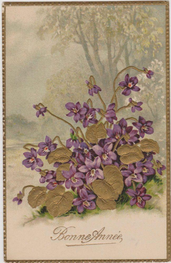 D tails sur superbe carte ancienne bonne annee gauffree bouquet de violettes ebay - Belles images bonne annee ...