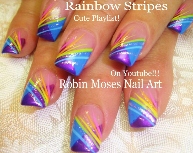 Nail Art Tutorial | DIY EASY Rainbow Striped Nails | Chevron French Nail…