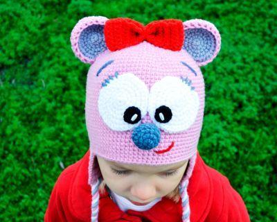 Шапка прикольная мышка купить теплые шапочки для девочки Россия Екатеринбург магазин Смешапки
