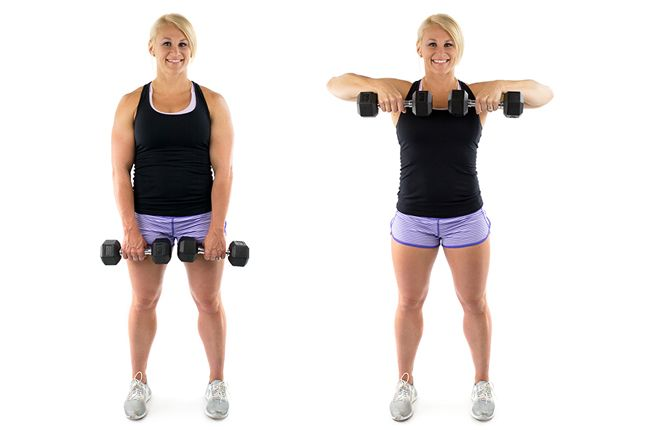 standing dumbbell upright row