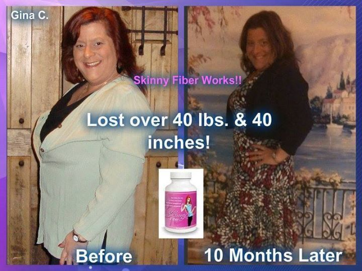 From Gina!  Many people ask me if Skinny Fiber works. Take a look at my results after only 10 months!! I lost 12 lbs my first 30 days, 25 lbs after 60 days and now over 40 lbs and 40 inches in just 10 months (I went off my diet December & January but still took my Skinny Fiber)!!   What are YOU waiting for?? This stuff flat-out WORKS!!!  Are you ready?  Get your Skinny on! 100% natural! NO wraps! NO shakes! NO fake food! NO hormones!! Start here: http://joannarenay.SBC90daychallenge.com/