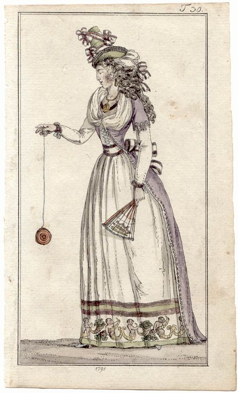 1790's fashion plate. From Journal des Luxus, 1791.