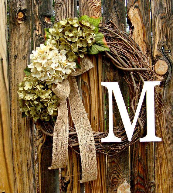 Green and Cream Hydrangea Wreath with Monogram - Wreath - Door Wreath - Year Round Wreath - Initial Wreath - Wreaths -
