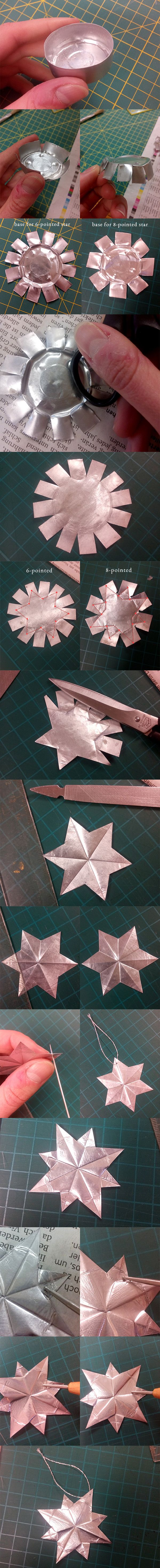 christmas ornaments / stars made from leftover tea candle aluminium cups written instructions here http://cranes-journey.blogspot.de/2014/12/ornaments-from-left-over-tea-light-cups.html