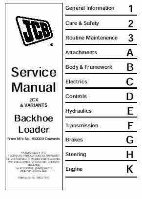 JCB Back Hoe 2CX Excavator ManualFull Service manualcovering all 2CX Machines and Vairaintsin SectionsAttachmentsBody and FrameworkElectrical SystemsControlesHydraulic SystemsTransmition and BreakesSteering and Engine414 pagesFor serial 930000 onwardPublication No9803-7130instant Download