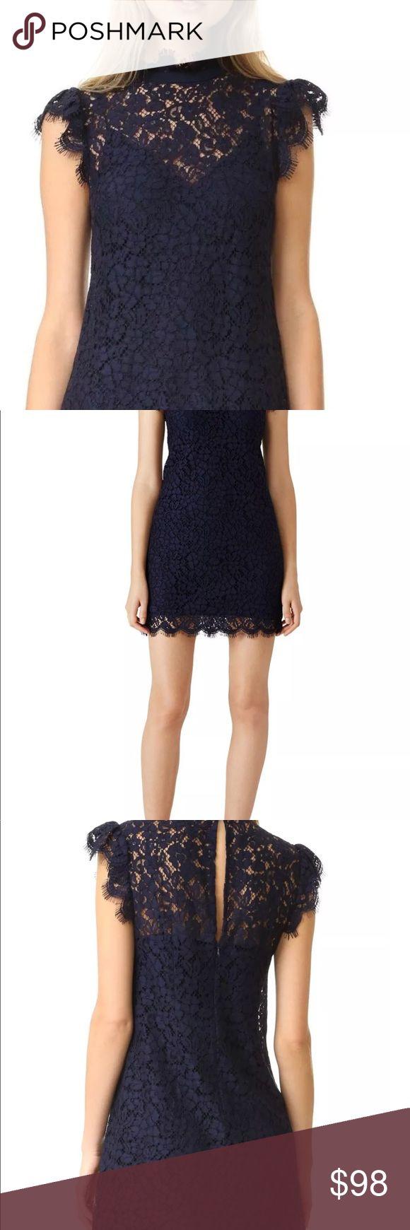 Rachel Zoe Dress NWT $345 RACHEL ZOE High Neck Navy Lace Dress Flutter Cap Sleeve Mini Shift 6 Rachel Zoe Dresses Midi