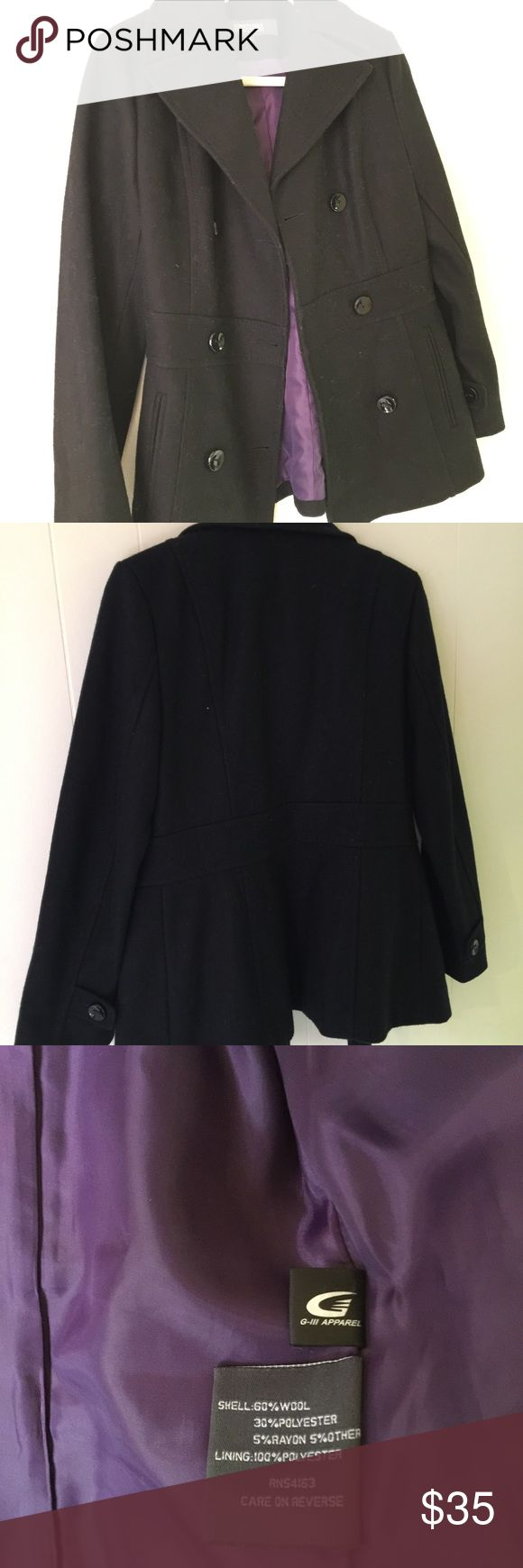 Kenneth Cole Women's Black Wool Overcoat - Size: 4 Kenneth Cole Women's Wool Overcoat - Size: 4. Like-new, great condition, no flaws, nice purple inner lining.   #kennethcole #wool #coat #woolcoat #overcoat #black #purplelining #likenew #size4 Kenneth Cole Reaction Jackets & Coats Pea Coats