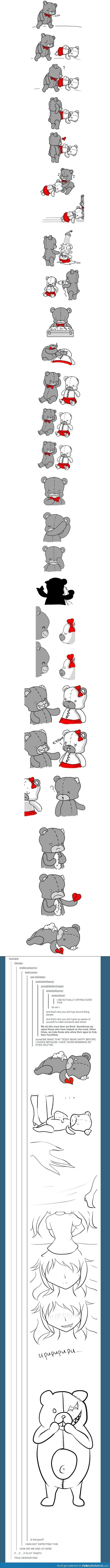 Does anyone notice that the way the male bear ends up after fixing her and her leaving is how he originally found the girl bear....