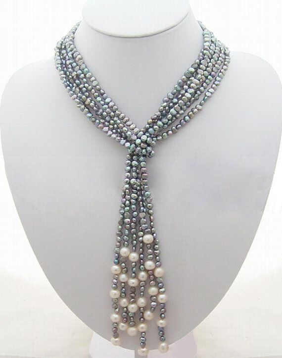 images gijillie blue necklaces pearls best jewelry bead etc pinterest necklace seed on weaving ropes