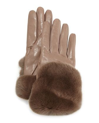 Fur-Trimmed+Leather+Gloves,+Totora+by+Gala+Gloves+at+Neiman+Marcus.