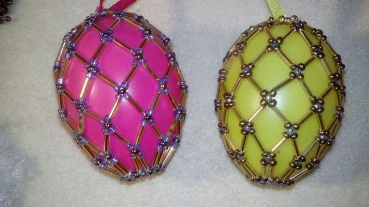 Tojás húsvéti, gyöngy, eggs, handmade, gold