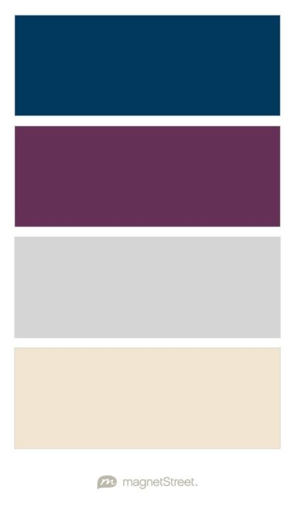Navy, Eggplant, Silver, and Champagne Wedding Color Palette - custom color  palette created