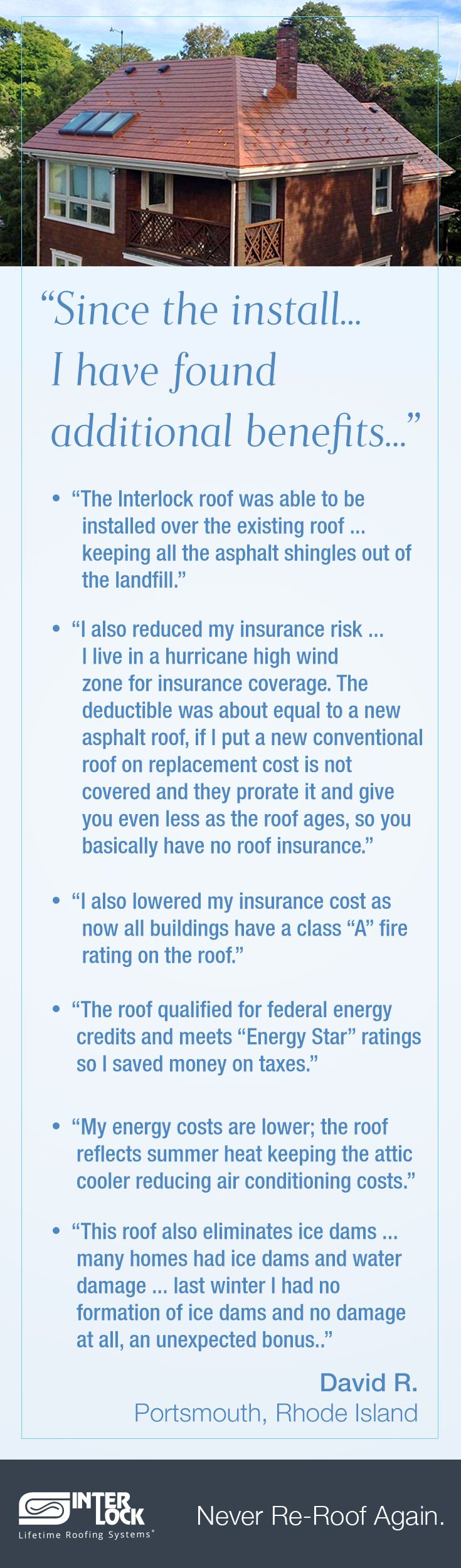 There are many tangible benefits to a new metal roof. This customer initially bought for the resistance to extreme winds (hurricane rated) but also listed so many things he found over his first winter with his new roof. Thank you David!