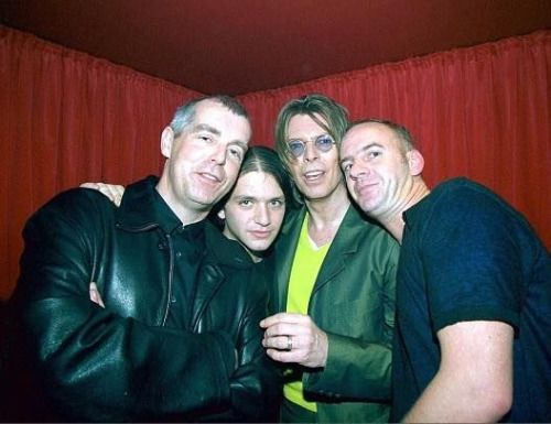 Brian Molko with Neil Tennant, David Bowie, and Fatboy Slim at POP in London, England on December 2, 1999