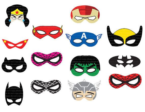 File Jpeg - stampabile - festa di compleanno di Cut-Out maschere istantanea DL - supereroi
