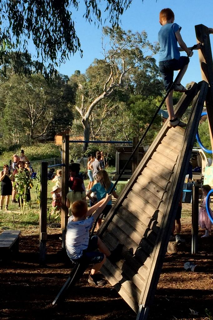 Children climbing on playgroup equipment at Orana Day