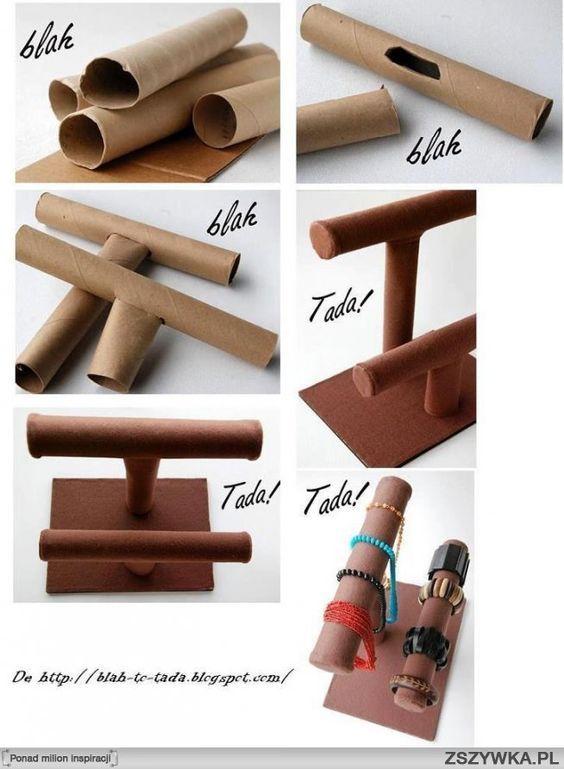 diy, diy projects, diy craft, handmade, diy ideas, diy paper roll jewelry display: