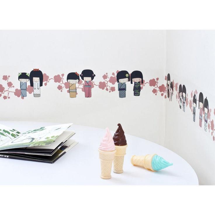 Frises adhésives pour les chambres d'enfants - Les Kokeshis - rose