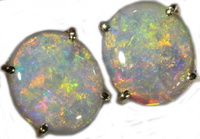 8.36 CTS 9K GOLD OPAL EARRINGS FROM LIGHTNING RIDGE [SOJ5629]  fire opal earrings , gold opal earrings , australian solid opal earrings