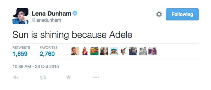 Pin for Later: 12 Celebrities Who Were Not OK After Adele's New Single Dropped Lena Dunham