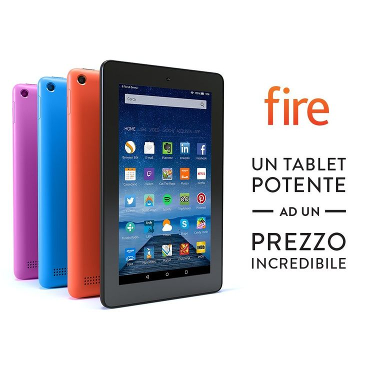 """(EUR 59,99 Spedizione GRATUITA) Tablet Fire, schermo da 7"""", Wi-Fi, 8 GB (Nero)"""