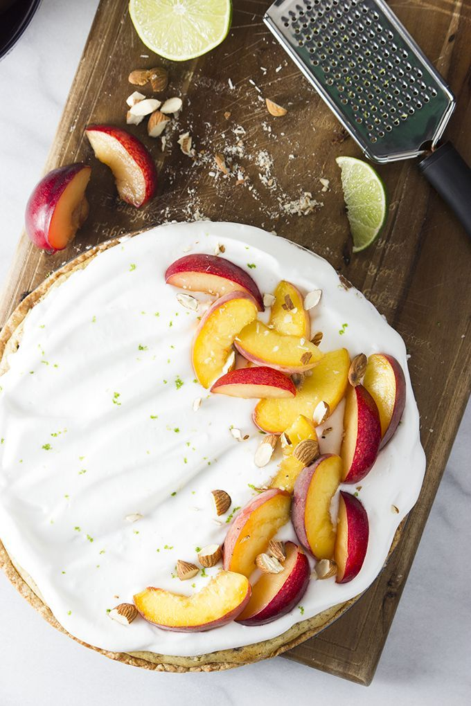 Almond Tart with Stone Fruit and Lime Meringue