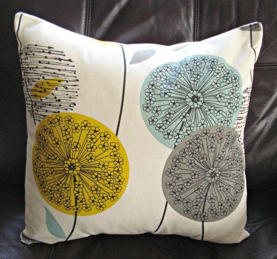 Throw Pillow Teal Blue Green Mustard Yellow Dandelion Blue