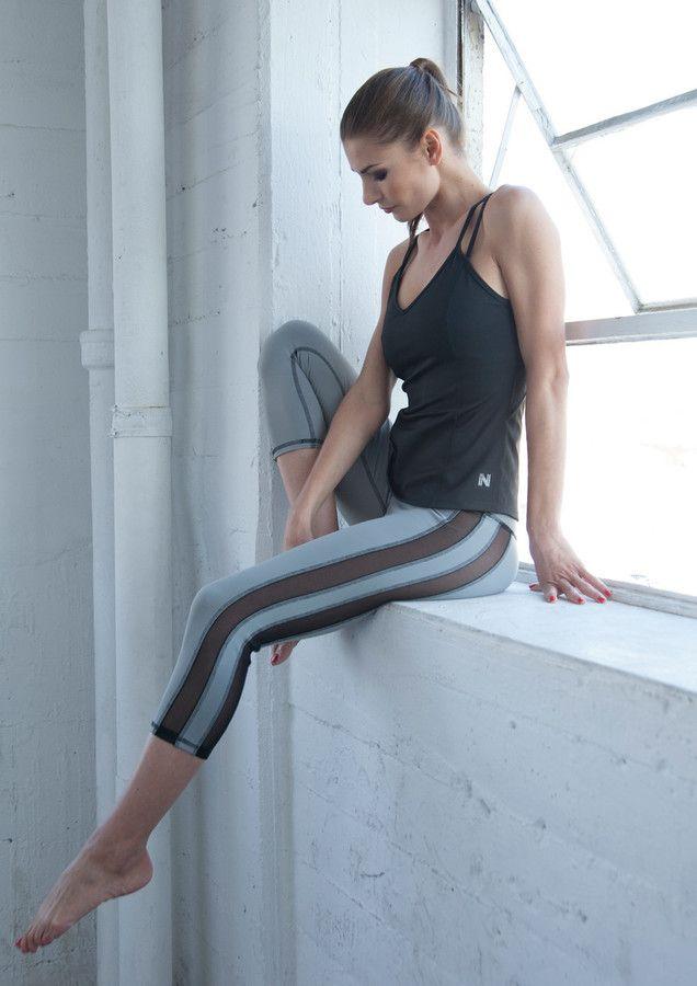 Nina B Roze - Tuxedo Double Mesh Capri - Light Grey