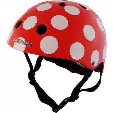 Kiddimoto Helmet Red Dotty Medium