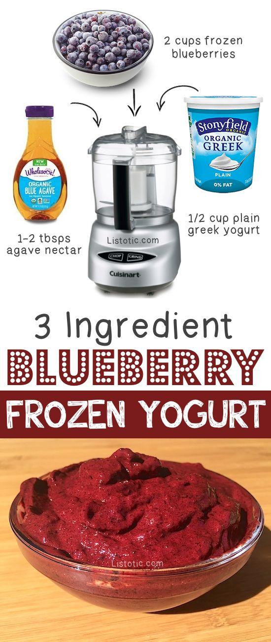 Healthy 3 Ingredient Blueberry Frozen Yogurt -- super easy and tasty!!