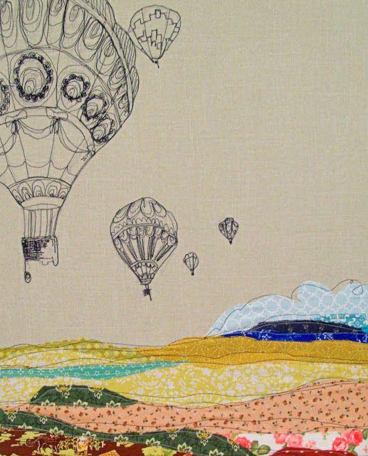 stephanie k. clark : embroidery hot air balloon