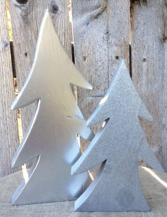 Alberi di Natale di legno argento metallico, Natale Decor alberi di legno grosso in argento metallico e finitura Glitter, argento & Glitter legno