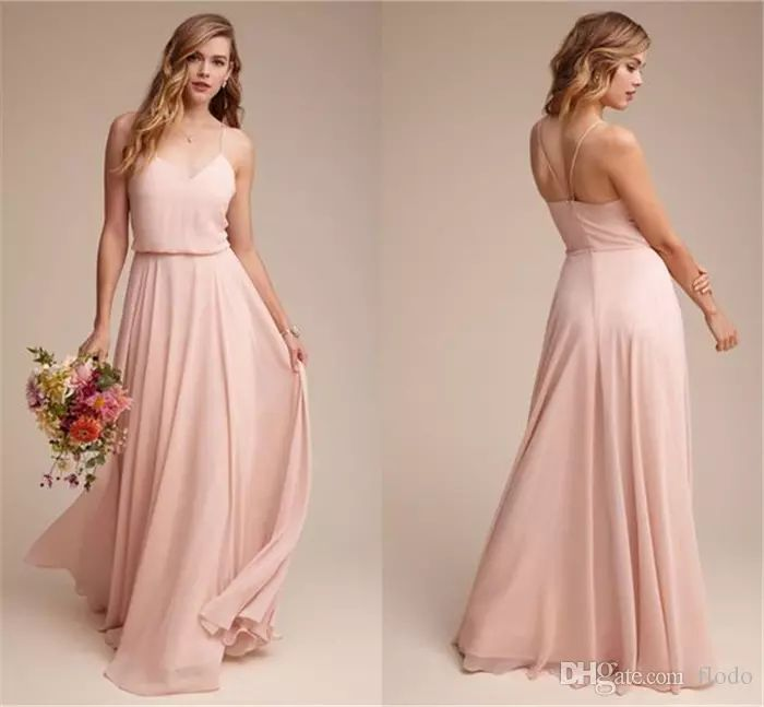 Cheap Long Blush Pink Bridesmaid Dresses 2017 Wedding Guest Dress Draped Chiffon Floor Length Formal Prom Party Gowns New Arrival Under 100 Bridesmaid Dresses Beach Wedding Bridesmaid Dresses Canada Online From Flodo, $65.68| Dhgate.Com