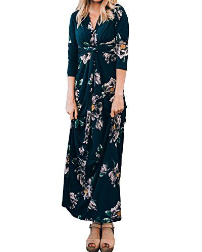 Hestenve Women Floral Printed 3 4 Sleeve V Neck Twist Knot Empire Waist  Swing Maxi a2aba14f8f91