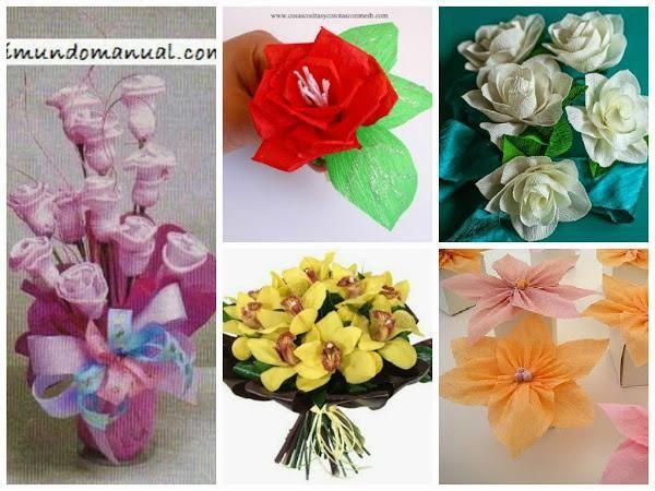 Bonitas flores de papel con esquema paso a paso | Aprender manualidades es facilisimo.com