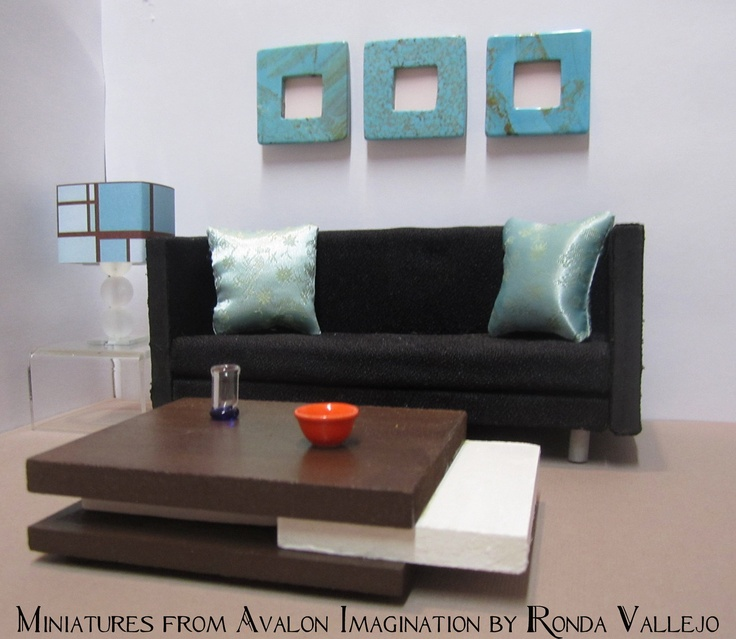 1 12 scale chocolate brown and white ultra modern dollhouse coffee table. 1005 best Modern Miniatures images on Pinterest   Dollhouses