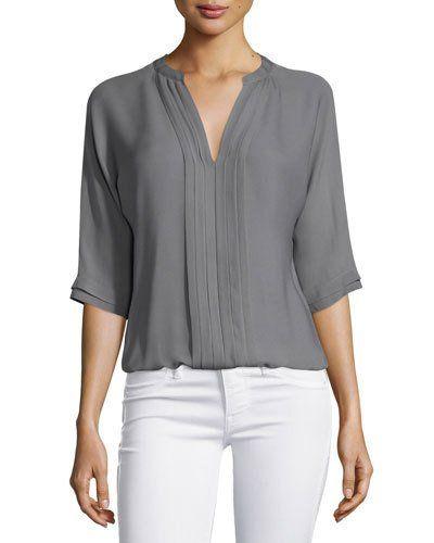 Marru 3/4-Sleeve Silk Top