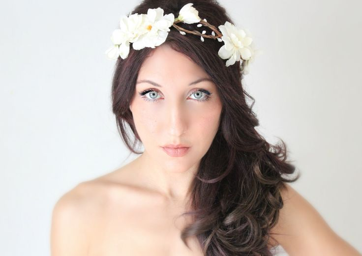 I love everything about her hair and crown. Flower Crown Ivory Delphinium Wedding Tiara Bridal Hair by deLoop, $65.00