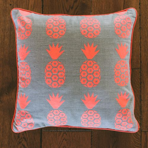 E Linen Pineapple Print cushion (Fluro Coral Red on Beige)