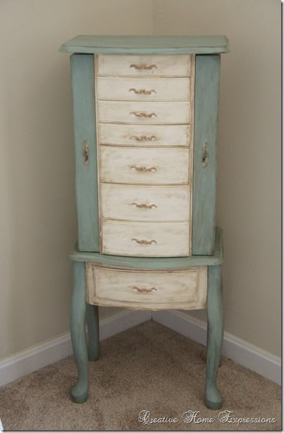Jewelry Armoire Makeover. I have an identical armoire! I should do this!