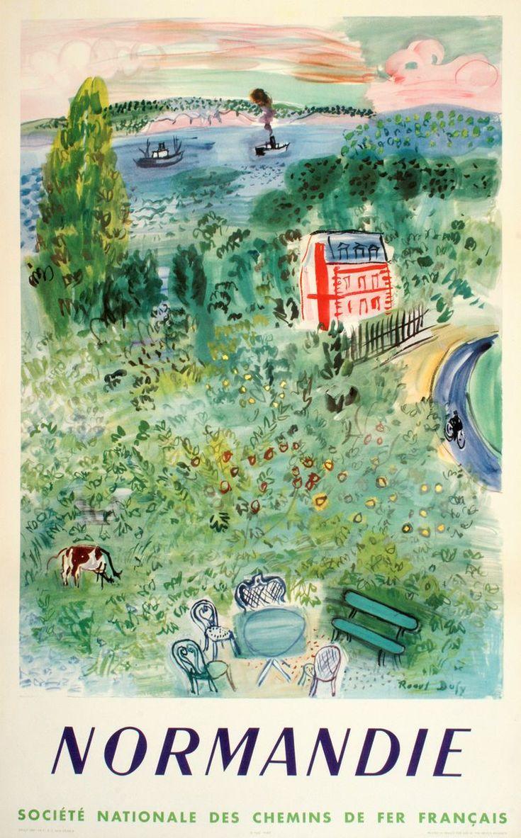 illustration française : Raoul Dufy, 1952, affiche de tourisme, Normandie, 1950s, campagne, vert