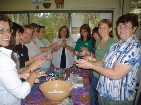 Some of the girls getting hands on and crafty in a soap making class.