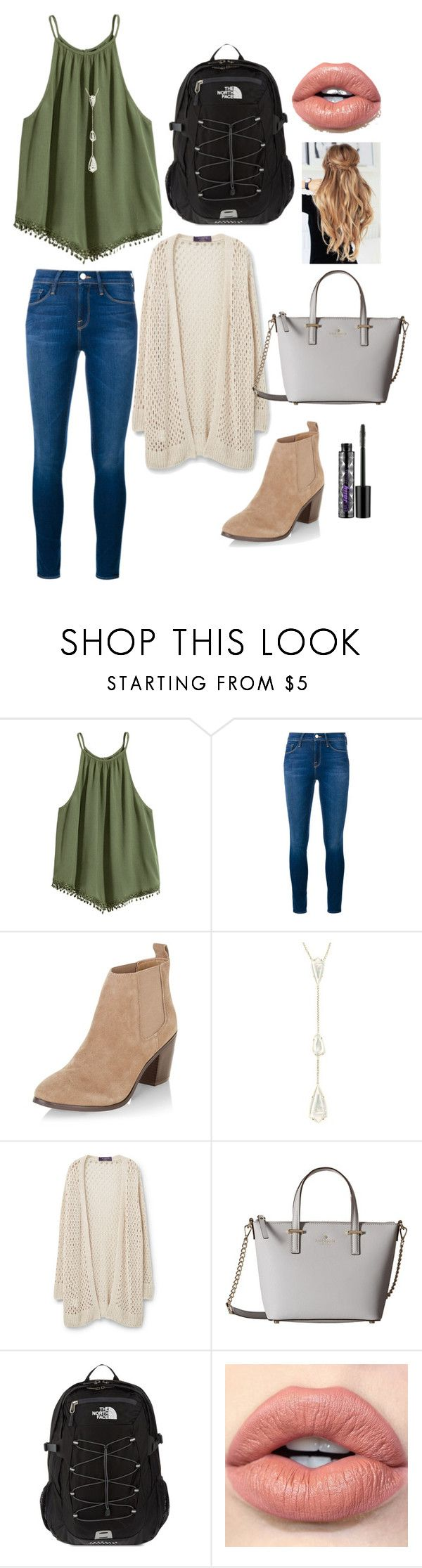 """""""school outfit"""" by mkhays ❤ liked on Polyvore featuring Frame, New Look, Kendra Scott, Violeta by Mango, Kate Spade, The North Face and Urban Decay"""
