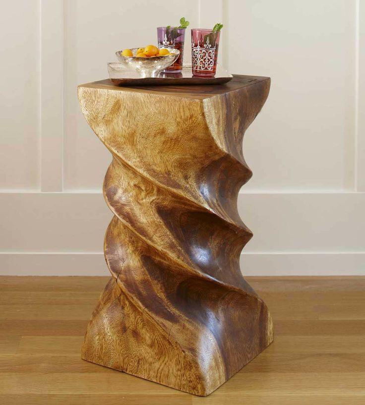 VivaTerra Triple Twist Stool $195: Twist Stool Table, Twists, Beautiful Table, Living Room, Vivaterra, Accent Chair Furniture, Wood Stool, Stools